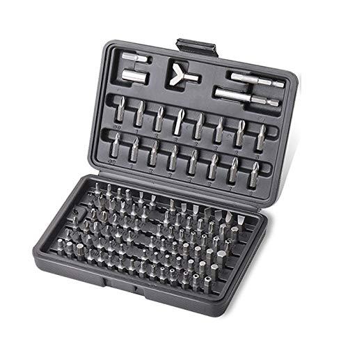 GOBUY PROSTORMER 100pcs dígito binario de destornillador Conjunto de Seguridad de cromo-vanadio CR-V de acero Llave hexagonal Phillips ranurado Tri-Ala Hand Repair Tool Kit (Color : Black)