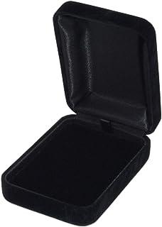 ジュエリーケース ネックレス用 スエード調 ペンダント ネックレス ケース ギフト プレゼント アクセサリー 収納 外化粧箱付き (ブラック)
