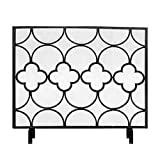 KGDC Reja de Protección de Chimenea Hermoso diseño de Hierro Malla Chimenea Pantalla Hueco Decorativo Chimenea Pantalla de Chispa, w 38.6'× H 30.7' × D 8.7' Pantalla Chimenea (Color : Black)