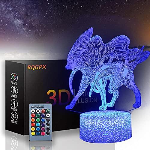 Lámpara de ilusión óptica 3D suicune luz nocturna para niños y niñas como en cumpleaños o días festivos