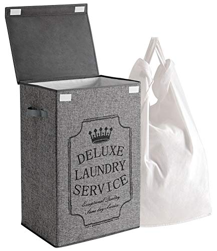 Laundry Hamper with Removable Liner Bag - Collapsible Laundry Basket Clothes Hamper with Lid - Grey 72L