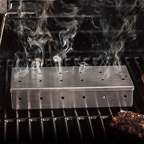 CYOYO Holzhackschnitzel BBQ Smoker Box Für Indoor Outdoor Holzkohle Gasgrill Grill Fleisch Infundiert Rauchgeschmack Zubehör Smoker Box