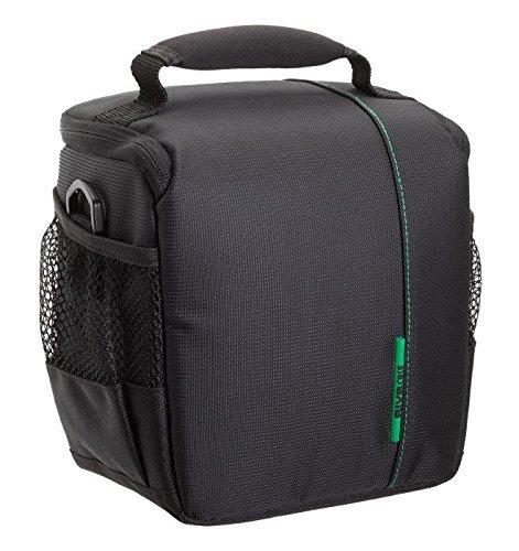 RIVACASE Spiegelreflexkamera Tasche - Elegante Schultertasche mit schützenden Innenfutter & Zubehörfächern - Schwarz