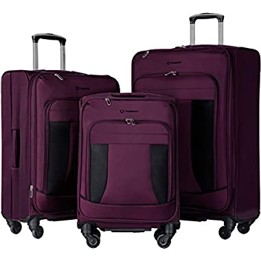 Merax Travelhouse 3 Piece Luggage Set Expandable Spinner Suitcase Purple, Purple with Black
