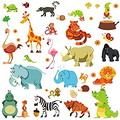 Jungle Animal Wall Decal Pack of 50 Colorful Stickers - Peel & Stick Unisex Animal Stickers for Kids Nursery Decoration - Party Decor Baby Decals by Dekosh
