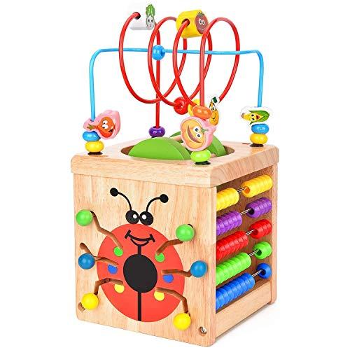 ZCX Creative hexahedron con cuentas multifunción juego Ayudas de aprendizaje Forma Color Reconocimiento práctico Entrenamiento Temprano Educación infantil Juego cerebral Juguetes para Bebés y Niños Pe