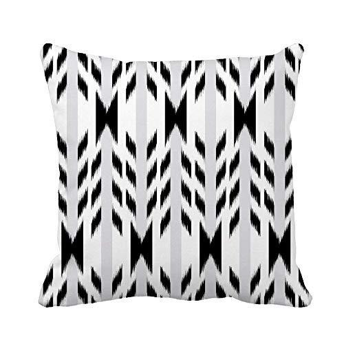 N\A Throw Pillow Cover Colorful Abstract Black and White Ikat Bohemian Boho Funda de Almohada clásica Funda de Almohada Cuadrada Decorativa para el hogar Funda de cojín