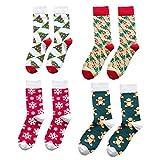 TOYANDONA 4 pares de calcetines navideños para hombres y mujeres, cálidos calcetines acogedores de invierno coloridos calcetines navideños para adultos