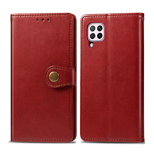 Huawei P40 Lite/Nova 6 SE/Nova7i Case,Wallet Flip Folio Cases with Credit Card Holder Slot PU Leather Phone Cases Stand Kickstand Rugged Protective Cover for Huaweip40Lite Women Men Girls Red