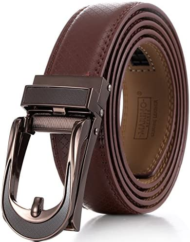 Mio Marino Mens Genuine Leather Ratchet Dress Belt with Open Linxx Leather Buckle Enclosed in product image