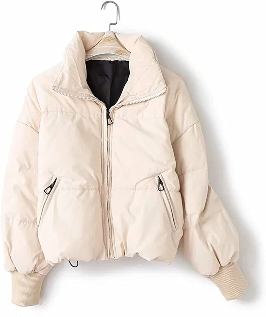 FindThy Women's Winter Puffer Jacket Slouchy Zip Short Thickened Quilted Coat
