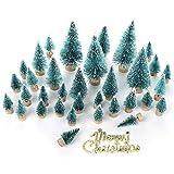 Árbol de Navidad artificial de sisal en miniatura, 43 unidades, con base de madera de pino con nieve, manualidades, adornos de Navidad para el hogar, fiestas de cumpleaños, festivales, bodas
