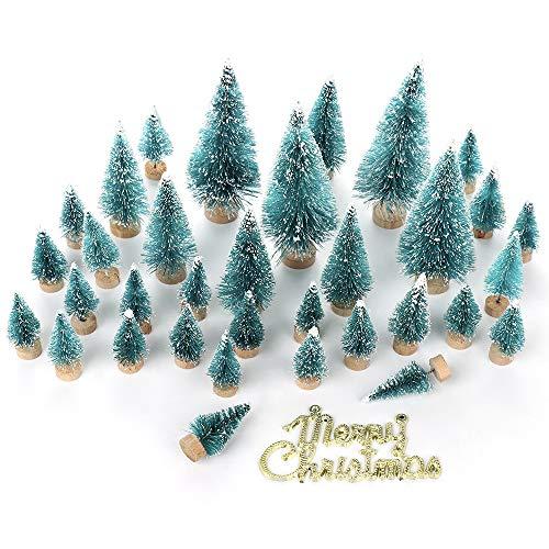 LouisaYork 34-teiliger Miniatur-Weihnachtsbaum, Mini-Sisal-Weihnachtsbaum, Mini-Landschaft für Tischdekoration
