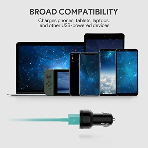 AUKEY Car Charger with Power Delivery, 27W USB-C & 5V/2.4A USB Dual Port Output for Macbook, iPhone X / 8 / Plus, Samsung Galaxy Note8 and More