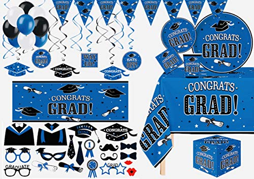 Serves 30   Ultimate Party Pack   Congrats Grad Blue Party Supplies   9' Dinner Paper Plates   7' Dessert Paper Plates   9 oz Cups   3 Ply Napkins   2 Table Cover   20 Photo Props   12 Swirls   30 Balloons  Props   1 Banner   2 Backdrop Banner   1 Grad Card Holder Box   Graduation Party Supplies Blue Graduation Party Theme