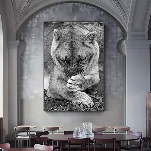 wZUN Lienzo de Animales Pintura león Estampado león Blanco y Negro Sala de Estar Carteles e Impresiones Arte Animal decoración de la Pared 60x90 Sin Marco