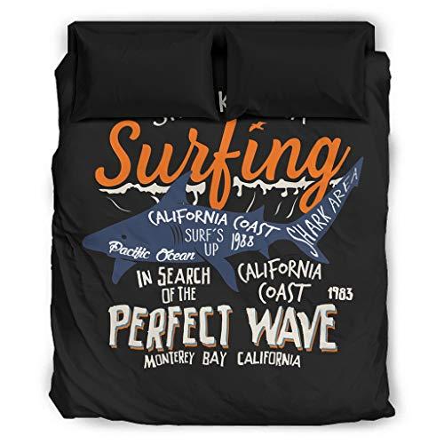 Sunlitrend 4 Teilig Bettwäsche Set Haifischbereich passend zur perfekten Welle Bettdecke-Bettwäsche-Set seidig schmutzabweisend für das Schlafzimmer zu Hause White 228x264cm