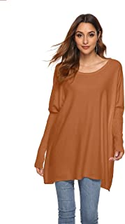 VNDFLAG Women's Off Shoulder Sweater Batwing Sleeve Tunic Tops Slouchy Oversized Knit Jumpers Ribbed Baggy Pullover