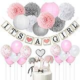 Decoraciones para bebés para niñas, rosa, blanco y gris Es una pancarta para niña, adorno de pastel de elefante, globos de confeti, pompones de papel para suministros para duchas para bebés