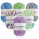 6Pcs Multicolored Crochet Yarn, Hand Acrylic Knitting Yarn, Acrylic Soft Yarn for Knitting Crochet and Crafts