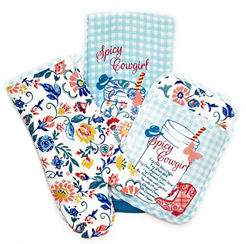 The Pioneer Woman Spicy Cowgirl Kitchen Towel Set-3 Pieces Including Oven Mitt, Pot Holder, Kitchen Towel Gift Set for Her