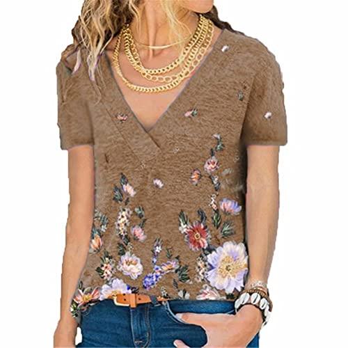 LYAZFC Camiseta de Manga Corta con Estampado Multicolor de Jersey con Cuello en V para Primavera y Verano