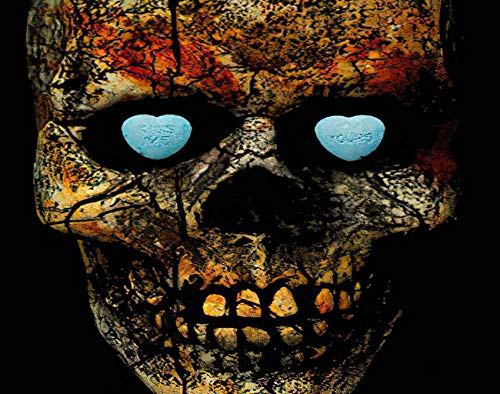 Trikptey Paint by Numbers Kiss Me I M Yours on Candy Hearts Inside Skull Eye Sockets DIY Canvas Acrylic Oil Painting by Numbers for Adults Kids Home Wall Without Frame 16'x20'