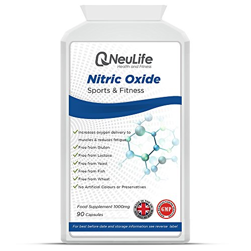 Nitric Oxide 1000mg | 90 Capsules | 2000mg Daily Dose | Popular Supplement for Body Builders & Athletes | Made & Manufactured in The UK for Neulife Health & Fitness