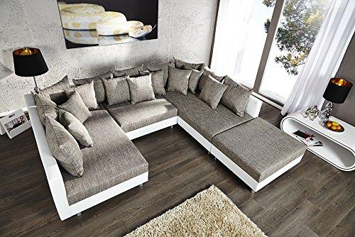 Großes Design Sofa LOFT XXL weiß grau Strukturstoff inklusive Hocker - 2