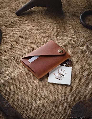 Minimalistischer Brieftasche/Kartenhalter aus Leder Classic Brown, Crazy Horse Leder Geldbörse/Kartenhalter, braune schlanke Geldbörse, Unikat, handgefertigte Unisex-Geldbörse, Crazy Horse Craft