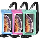 VGUARD [3 Pezzi] Custodia Impermeabile Galleggiante Smartphone, IPX8 Universale Borsa Impermeabile Sacchetto Impermeabile Cellulare Dry Bag per iPhone, Samsung, Huawei, ECC. (Blu+Verde+Rosa)
