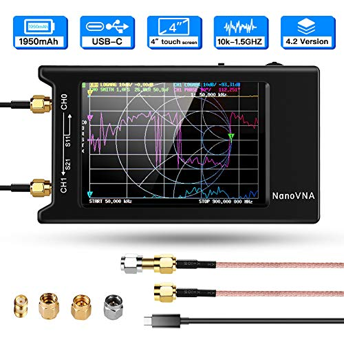 Elikliv Analizador Vectorial de Red 10k-1.5GHz HF VHF UHF, Analizador de Antena de Mano con 4'' Pantalla