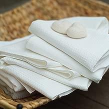 LinenMe Linen Cotton Checks Bath Towel, 26 by 51-Inch, White