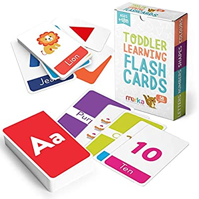 merka Educational Flash Cards for Toddlers Learn Letters Colors Shapes Numbers 58 Cards by merka