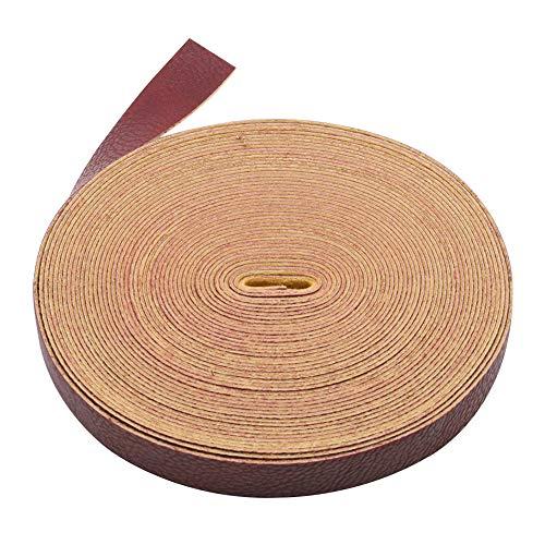MoreChioce Correa de piel de 10 metros, para mujer, plana, poliuretano, cordones de cuero, accesorios para bolsos, 2 cm de ancho, color rojo vino