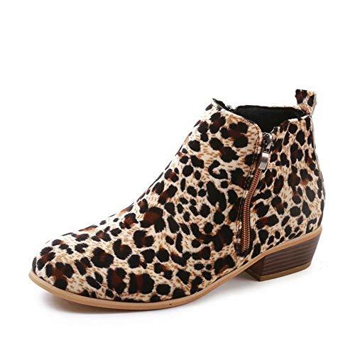 Botines Mujer Invierno Tacon Botas Piel Medio Tacon Ancho Ante Botita 3cm Casual Tobillo Ankle Boots Suede Zapatos Negros Marrón Azul Leopardo 35-43 EU