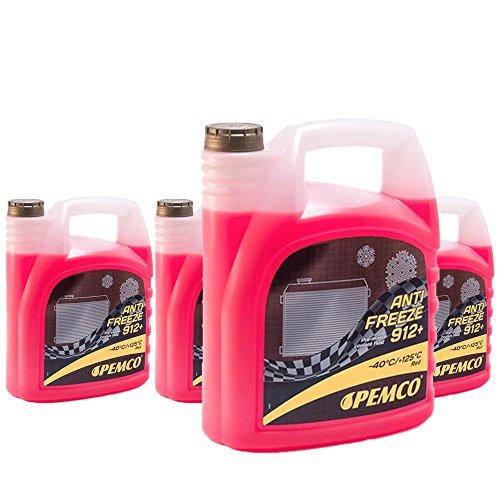 4 x 5L PEMCO antifreeze 912+ (-40) / antivries koelvloeistof kant-en-klaar mengsel G12+ rood