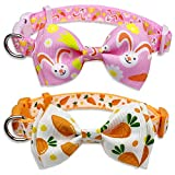 Easter Dog Collar with Bow Tie, Holiday Bunny Carrot Collar for Small Medium Large Dogs (Hoppy Hour / Pink, Small)