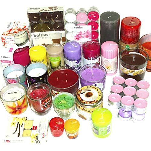 8 kg Duft Kerzen Mix: Stumpenkerzen Teelichter Duftgläser Verschiedene Düfte, bunt gemischt von Bolsius, Eika, Müller