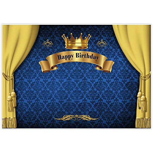 Allenjoy 7x5ft Royal Prince Birthday Party Backdrop for Photography 1st First Blue and Gold Curtain Crown Baby Shower Banner Boys Kids Event Cake Table Decor Home Decoration Photo Booth Background