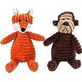 Nozomi - Juego de 2 juguetes de peluche para perro, de pana resistente, juguete interactivo de peluche con diseño de zorro y mono para dentición de perros pequeños y medianos