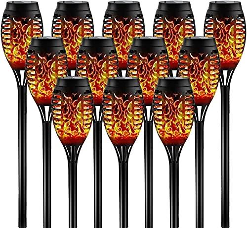 SKYWPOJU Luces solares jardín exterior, luz de llama solar,4/8/12 piezas luz solar jardín IP65 a prueba de agua 12 LED lámpara solar antorchas de jardín,encendido/apagado automático para jardín, patio
