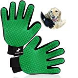 DoggyLush Pair of Pet Grooming Gloves. Upgraded 259 Silicone Tips in Each Pet Grooming Glove/Deshedding Glove. Ideal for a Cat or a Dog. Work on Wet/Dry and Long/Short Fur (Green)