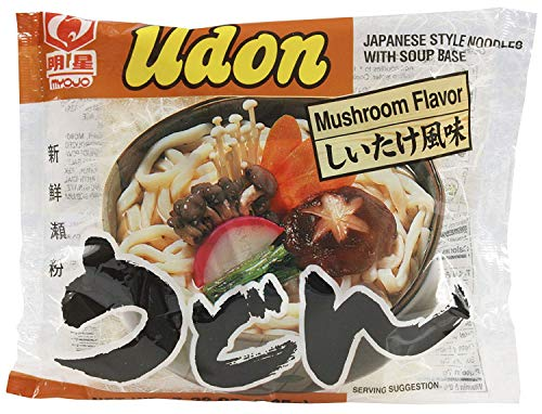Myojo Udon Japanese Style Noodles with Soup Base Artificial Mushroom Flavor 7.23oz (205g), 10 Pack