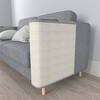 PUCHIKA Tapis griffoir pour canapé gauche en sisal naturel - 59 x 59 cm - Gris - Avec tampon autocollant - Protection contre les rayures