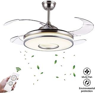 Lámpara LED invisible para ventilador de techo, 4 aspas retráctiles con ventiladores integrados, tres luces de ventilador de techo (potencia 48 W)