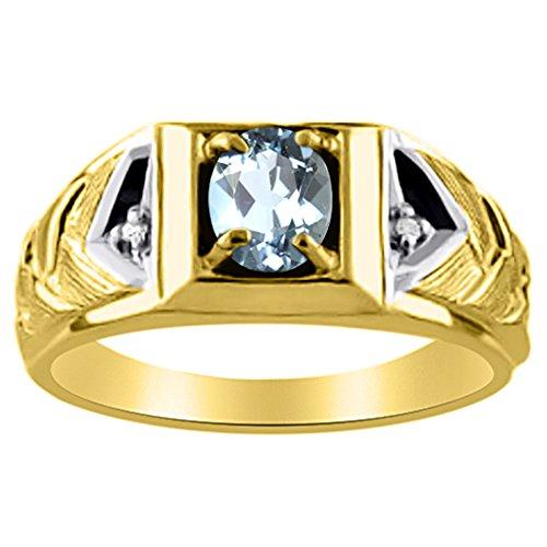 Diamant et aigue-marine Bague Jaune 14K ou Or blanc 14K