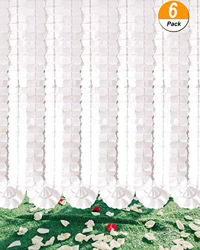 Xmssit Guirlande à suspendre Trèfle à quatre feuilles papier de soie Guirlande de fleurs réutilisables serpentins de fête pour fête Décorations de mariage, article Pieds/3.6 m chaque, Lot de 6 blanc