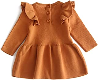 Fartido Kids Baby Girls Little Sister Summer Ruffled Dress Clothes Backless Solid Casual Clothes