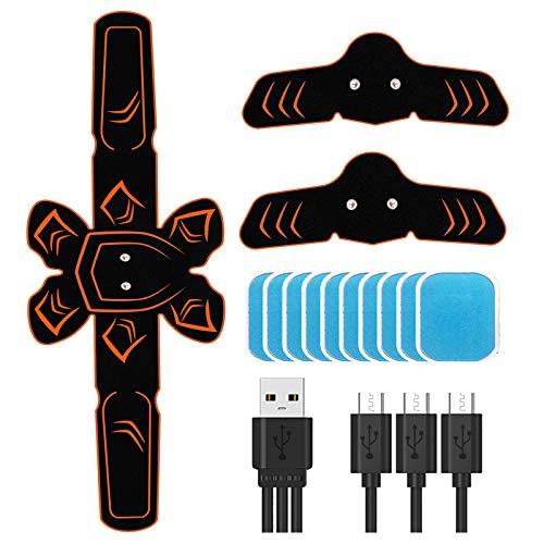 PiAEK EMS Elettrostimolatore per Addominali, Stimolatore Muscolare Addominale, Cinture USB Ricaricabile per Addome/Braccio/Gamba Uomo o Donna (Orange)
